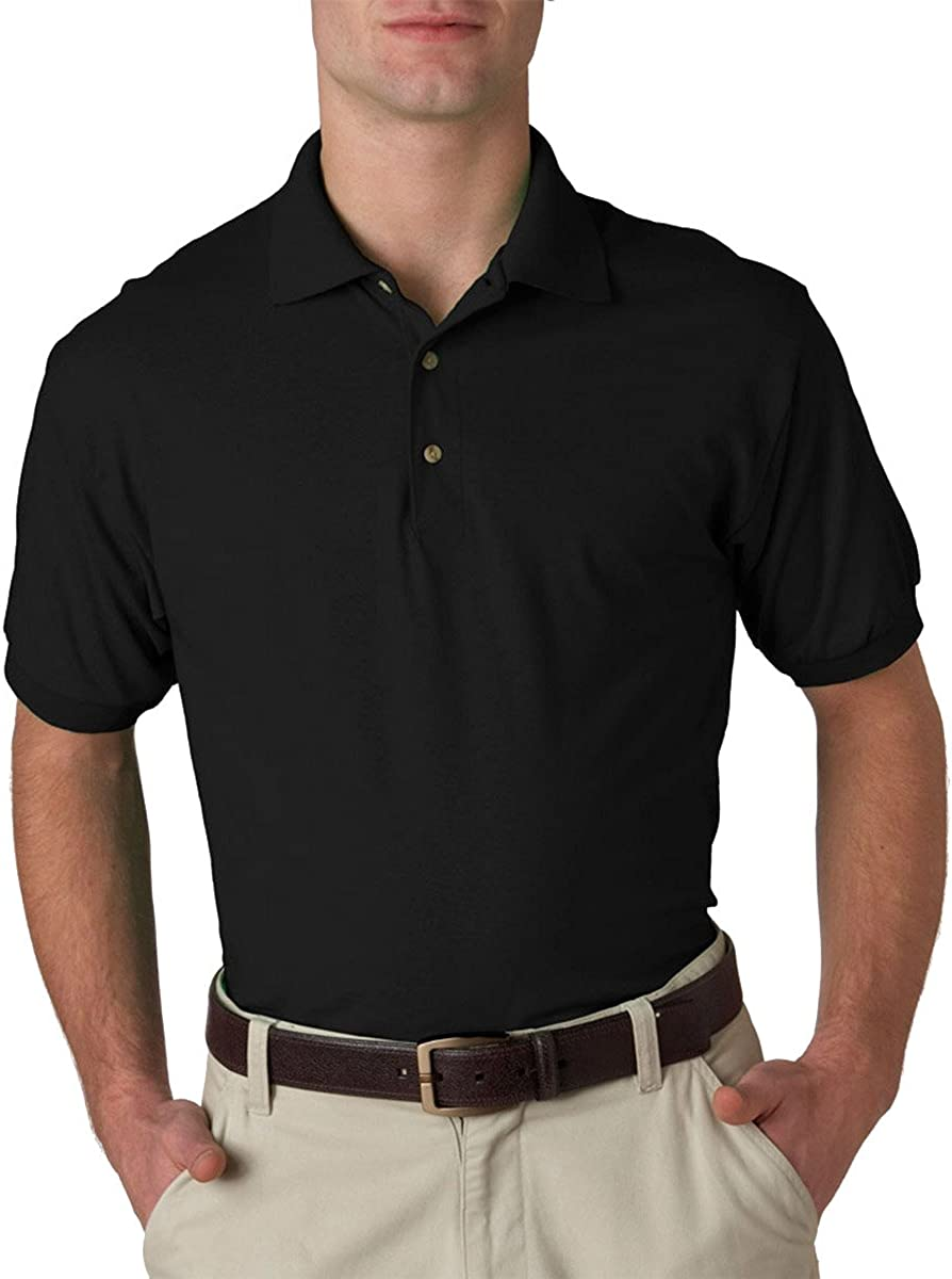 Gildan Men's We OFFer at cheap prices Welt Collar Polo Tulsa Mall Black Small. Shirt Jersey Pack