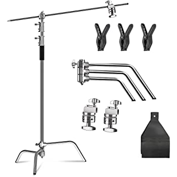 LOMTAP Photo Studio Heavy C Stand Support Metal Adjustable Reflector Stand with Holding Arm for Photography Studio Video Reflector and Monolight