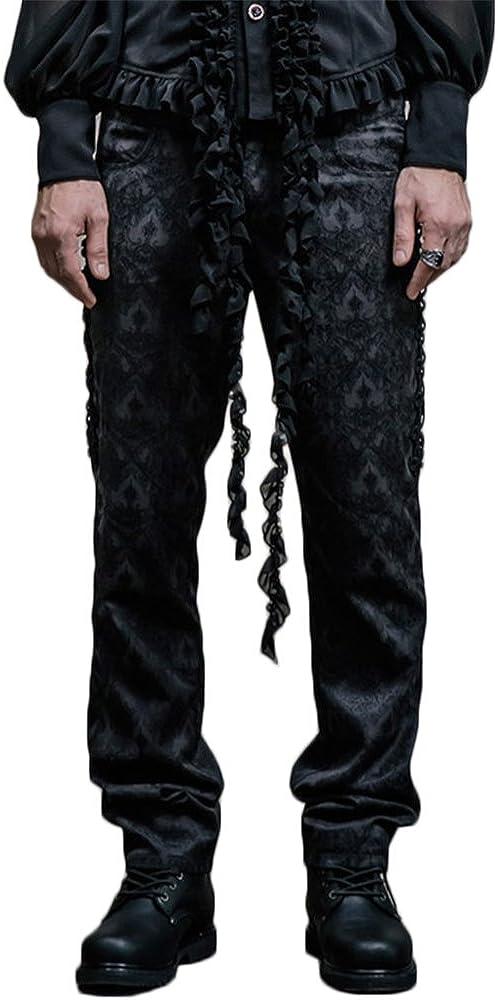 Devil 激安特価品 Fashion Goth Men Long 卓出 Waist Pants Elastic Printi Steampunk