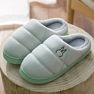 Thick Bottom Simple Winter Cotton Slippers Men's Half Bag with Indoor Home Home Non-Slip Soft Bottom Slippers Soft Comfort Cotton Shoes (Color : Green, Size : 44-45 Yards)