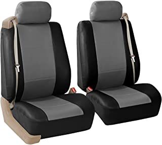 FH Group PU309GRAYBLACK102 Gray/Black Front PU Leather Seat Cover, Set of 2 (Built in Seat Belt Compatible Airbag Ready)