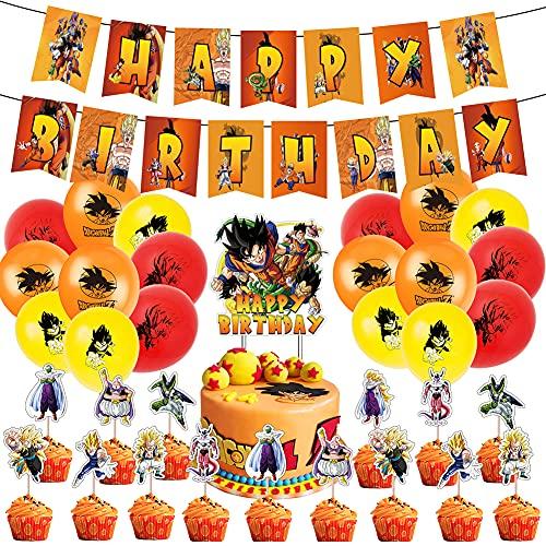 34pcs Fournitures de fête d'anniversaire Dragon Ball Z, les décorations de Dragon Ball comprennent des gâteaux, des décorations pour cupcakes, des bannières, des ballons