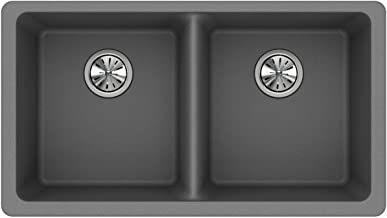 Elkay Quartz Classic ELGU3322GS0 Greystone Equal Double Bowl Undermount Sink