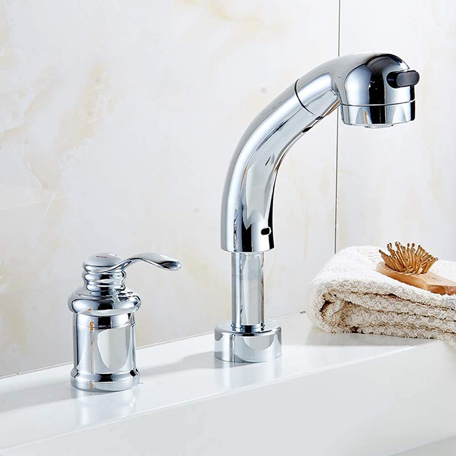 AXWT Split Double Hole Cold Heat Faucet Pull Type Basin Water-tap Telescopic Washbasin Tap With Shower Nozzle Bathroom Taps Pull-out Mixer Sink Faucet