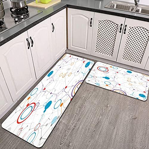 Juegos de alfombras de Cocina,Fondo de comunicación de tecnología de Red,Antideslizantes Lavables de 2 Piezas Alfombra súper Absorbente