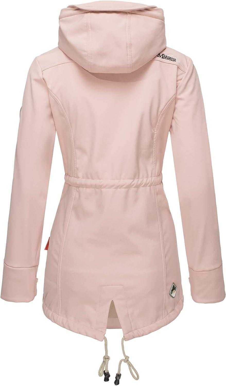 Marikoo Damen Jacke Softshelljacke Übergangsjacke Outdoor Winddichte Wasserabweisend Funktionsjacke mit Kapuze XS - XXL Zimtzicke Rosa