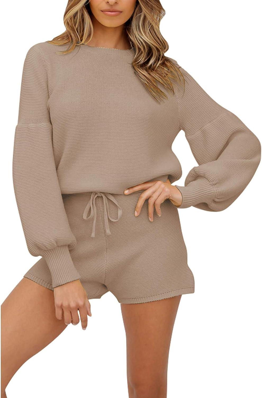Women's 2 Piece Knitted Sweatsuit Long Sleeve Sweatshirt with Shorts Lounge Set Tracksuit Khaki