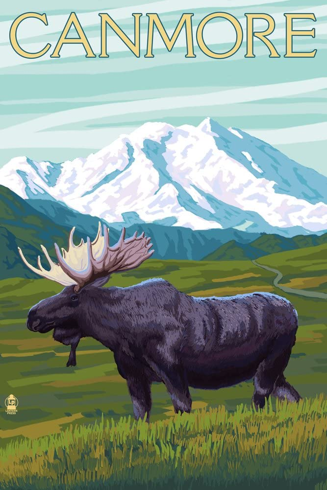 Canmore Alberta Popular standard 5 ☆ popular Canada - Moose Snowy and Gicle Mountain 36x54