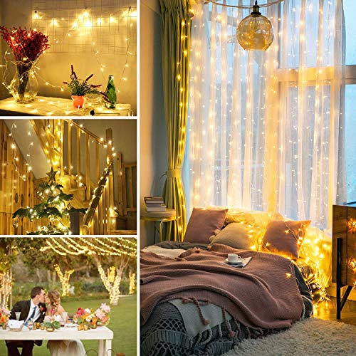 JMEXSUSS 100LED 49.2ft Indoor String Light Christmas Lights Fairy String Lights 30V 8 Modes for Homes, Christmas Tree, Wedding Party, Room, Indoor Wall Decoration, UL588 Approved (100LED, Warm White)