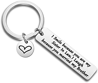WUSUANED Sister/Brother in Law Keychain I Smile Because You're My Sister/Brother in Law Wedding Gift for Bride Groom