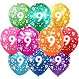 9 Cumpleaños Globos Decoracion Cumpleaños 9 Años Globos de látex, 30 cm, Colores Surtidos, Paquete de 30