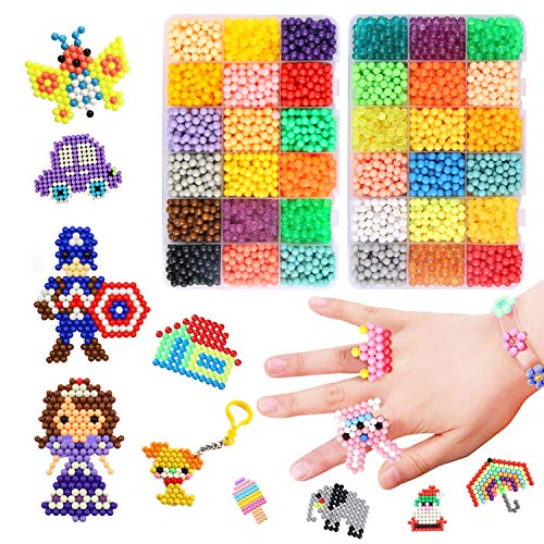 Water Fused Beads Kit Magic Water Spray Beads Set,Icnow 29 Colors 6000 Beads Water Sticky Beads Refill Beads All-in-one Set Christmas Gifts Toys for Mess Free Activity Imaginative Activity
