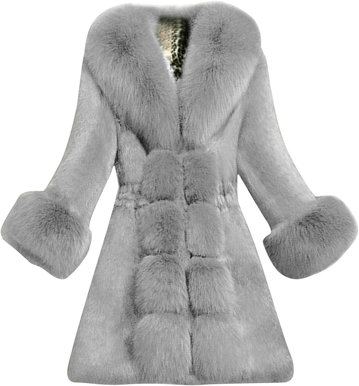 Forwelly Women Fluffy Faux Plush Coat Elegant Thick Warm Plus Size Overcoat Fashion Plain Long Jacket