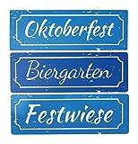 Oktoberfest Schilder Biergarten Festwiese Dirndl und Bua (Schilder 3 TLG.) -