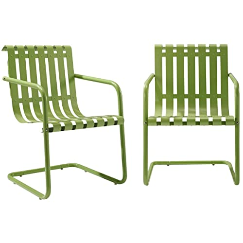 Crosley Furniture Gracie Retro Metal Outdoor Spring Chair   Oasis Green  (Set Of 2)
