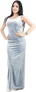 Opera Straight Velvet Dress For Women - Sky Blue