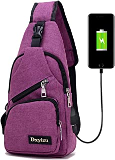 ZIXUN Chest Bag Triangle Rucksack with USB Charging Port and Headphone Port