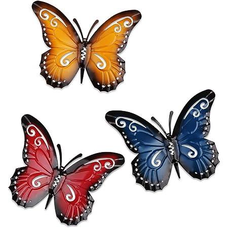 YiYa 3 Pièces Papillon en métal Un Groupe de Insectes Mignons colorés, pour accrocher Le Mur Art Jardin pelouse décor intérieur extérieur Sculptures murales 3 Couleurs