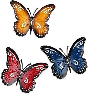 YiYa Mariposa de metal un grupo de 3 colores Insecto lindo para colgar Arte de la pared Jardín Decoración del césped Esculturas de pared al aire libre de interior