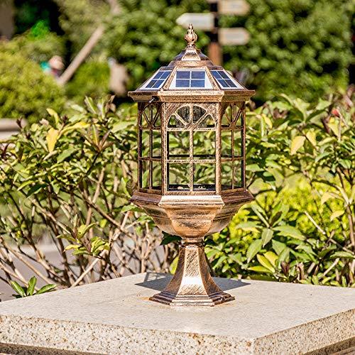 Lámpara De Cabeza De Columna Solar, Cerca Al Aire Libre, Puerta, Pilar, Lámpara De Pared De Jardín, Lámpara De Jardín De Villa De Jardín Europeo Al Aire Libre Impermeable
