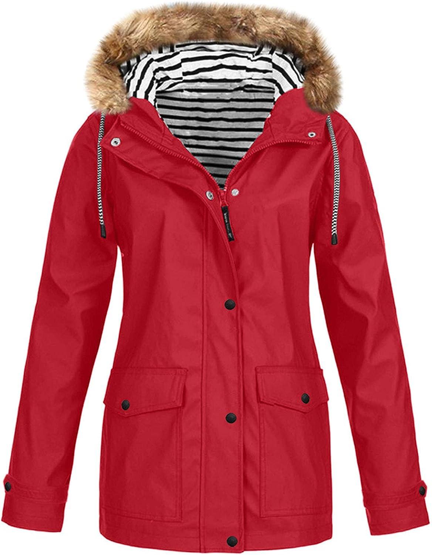 Women Winter Jacket Hooded Long Sleeve Solid Color Windbreaker Outdoor Waterproof Windproof Coat Warm Sportswear Fashion