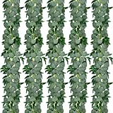 CEWOR 5 Pack 5.9ft Artificial Eucalyptus Garland with Willow Leaves Greenery Vines Hanging Plants for Wedding Party Home Table Indoor Outdoor Decoration