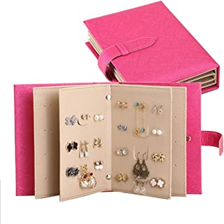 YFLY Women Earrings Organizer, Earrings Book Portable Earrings Ear Studs Organizer Book PU Leather Travel Earrings Display Storage Case Holder