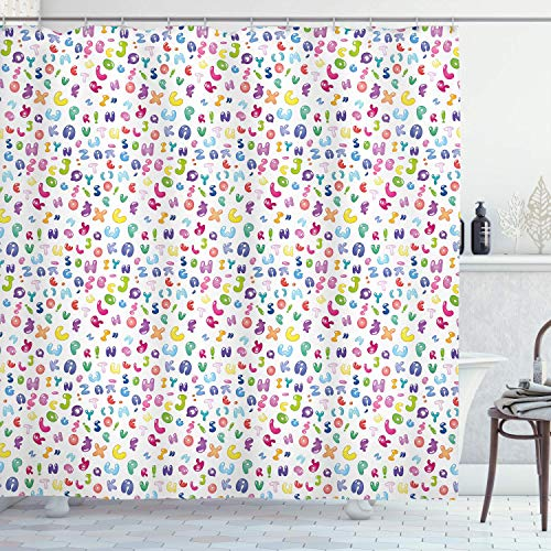 ABC Duschvorhang Buntes Alphabet ABC Bubble Letters Gekritzel Stil Spaß Kindisch Kinderzimmer Design Stoff Stoff Badezimmer 72 '