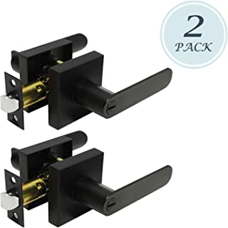 2 Pack Heavy Duty Privacy Lever Door Handle(Thumb Turn Inside Lock) for Bedroom or Bathroom with A Matte Black Finish, Left/Right Handing 1.78 lb One Lever