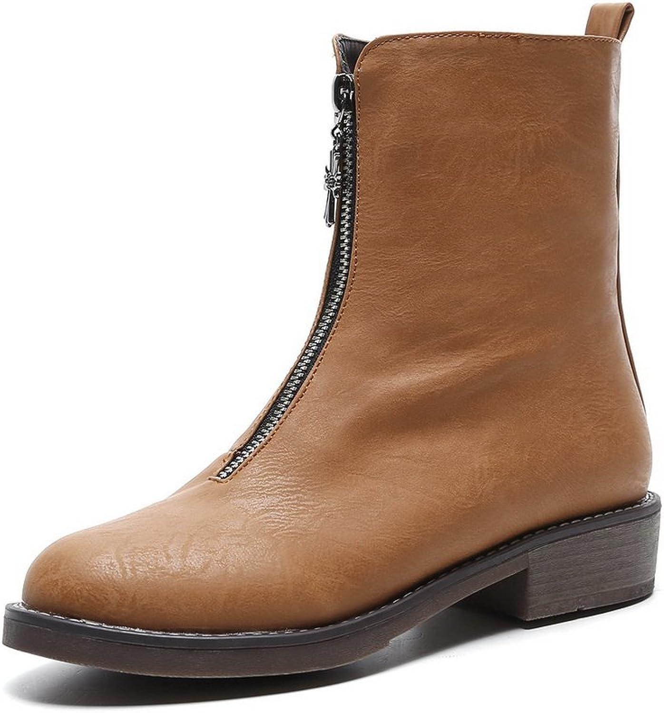 AdeeSu Womens Mid-Calf Square Heels Zipper Urethane Boots SXC02388