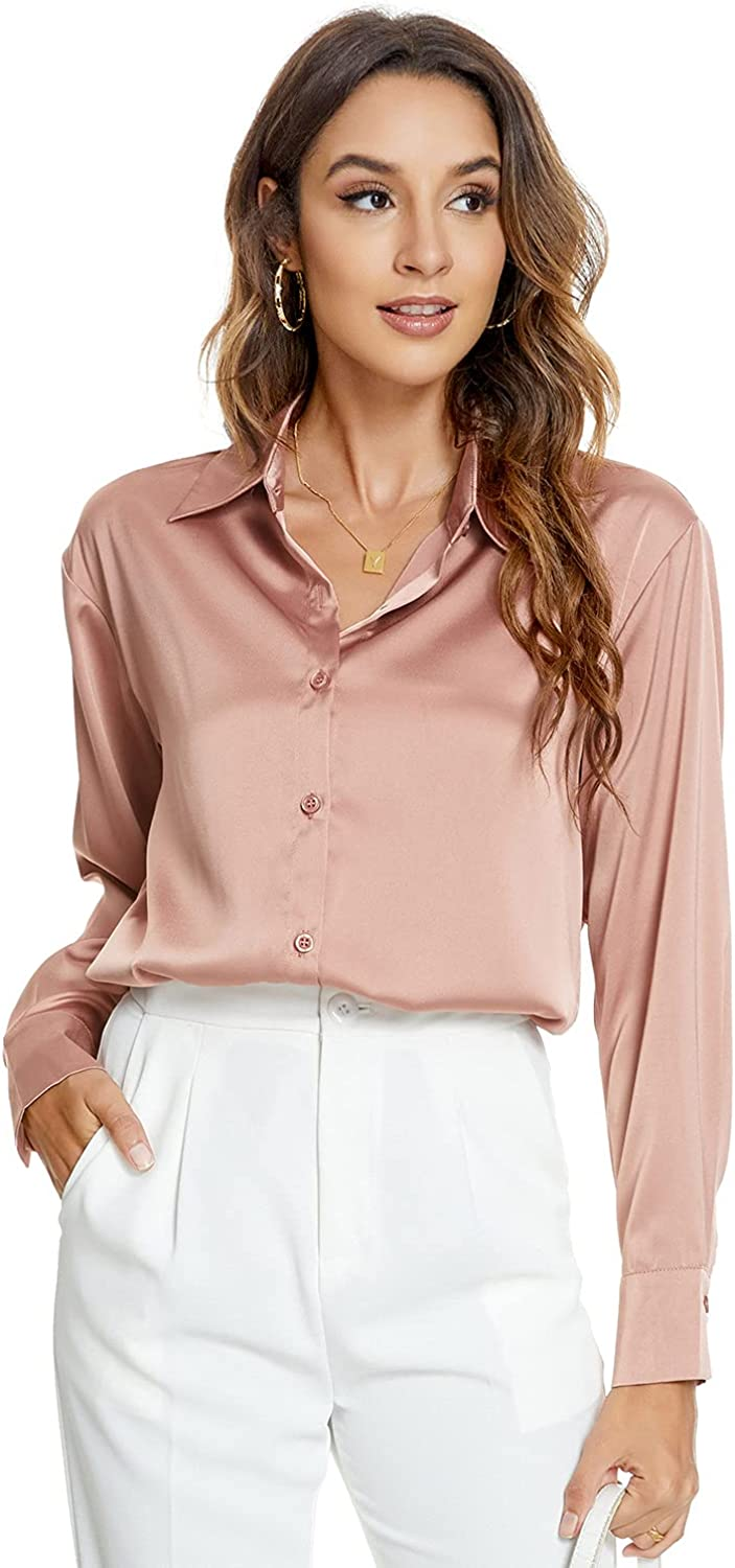 Atnlewhi Womens Long Sleeve Button Satin Silk Shirts Casual Free shipping Max 74% OFF anywhere in the nation Down