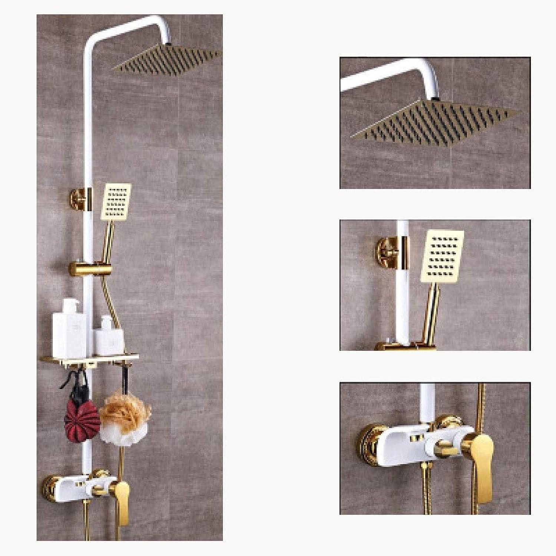 HANHJ Duschkopf, Handbrause Square Shower3-Modus-Einstellungen Bad-Duschset Chrombrausehahn Mit Rohrsatz Vollkupfer-Booster-Düse,Weiß Third Gear