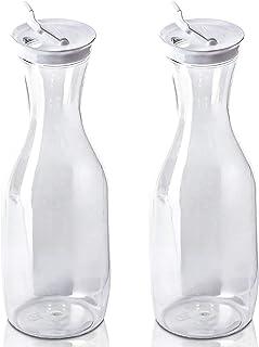 DecorRack 2 Large Water Carafes, Bottles with Flip Top Lid, 50 Oz Each, BPA Free- Plastic Juice Pitcher, Decanter, Jug, Se...