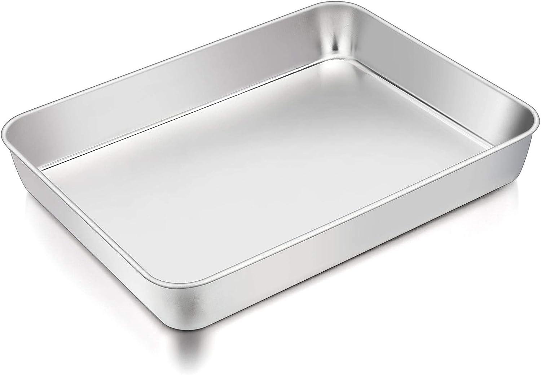 TeamFar Lasagna Pan, 12⅖'' x 9¾'' x 2'', Stainless Steel Rectangular Cake Brownie Casserole Pan For Roasting Baking, Healthy & Heavy Duty, Brushed Surface & Deep Side, Dishwasher Safe