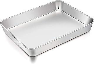 TeamFar Lasagna Pan, 12⅖'' x 9¾'' x 2'', Stainless Steel Rectangular Cake Brownie Casserole Pan For Roasting Baking, Healt...