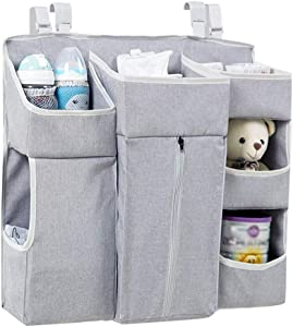 Aszhdfihas-home Baby Closet Organizer Bedside Storage Bag Crib Hanging Bag Bed Storage Bag Multi-function Baby Supplies Diaper Bag for Changing Table Crib Playards  Color Gray  Size 57X12X50CM