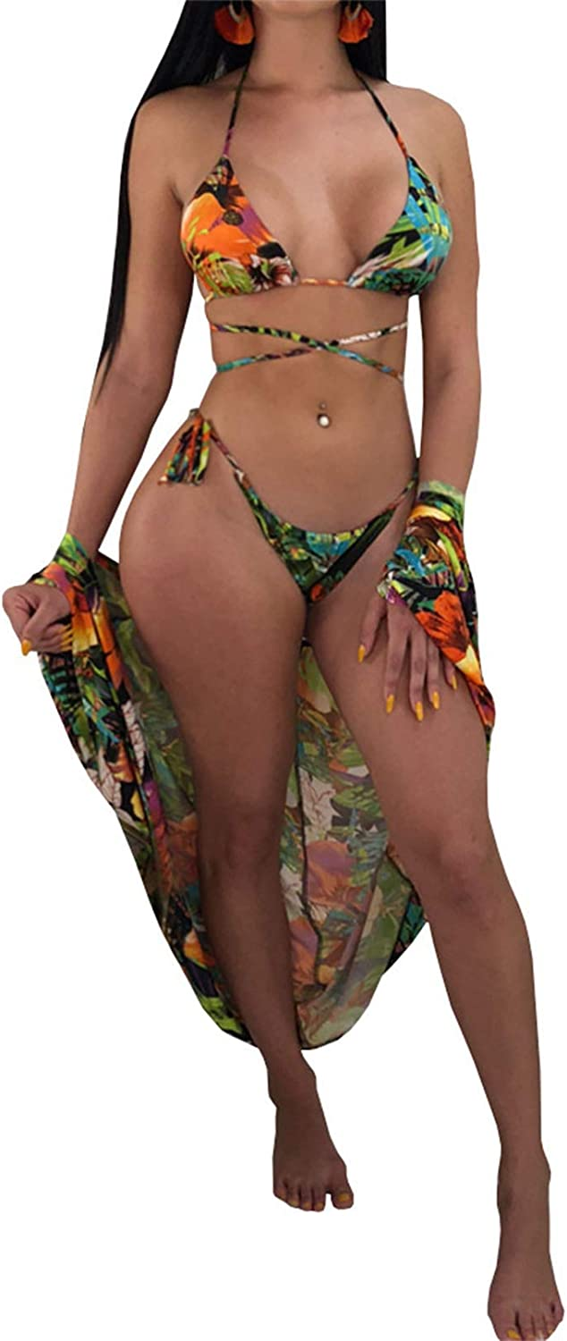 TOLENY Women's Sexy Floral Print 3 Pieces Swimsuits Cover Up High Cut Thong Sexy Bikini Set Bathing Suit
