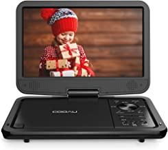 """COOAU 12.5"""" Portable DVD Player with HD Swivel Screen, 5 Hours Built-in Rechargeable Battery, Region Free, Support USB/SD Card, 3.5mm Audio Jack, Remote Control, Resume Playback, Black"""