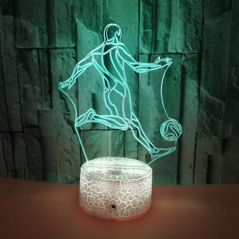 XIAOL Home 3D Fuball Nachtlicht USB Touch Switch Decor 7 Farbwechsel Lichter LED Tischlampe