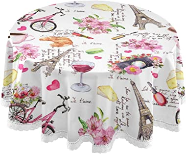 AUUXVA MOFEIYUE Round Tablecloth Paris Eiffel Tower Floral Bicycle Polyester Table Cover Circular Table Cloths for Dining Table, Kitchen, Wedding, Restaurant, Party, Buffet,Picnic