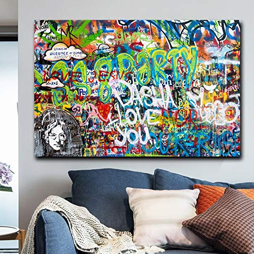ganlanshu Resumen Lienzo Pintura al óleo Arte de la Pared Pintura al óleo Lienzo póster Imprimir imágenes para Sala de Estar decoración del hogar,Pintura sin Marco,45x67cm