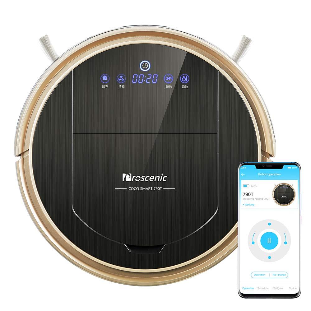 Robot aspirador WiFi Proscenic 790T (2 en 1: robot aspirador y robot limpiador), autocarga, tarjeta visual,