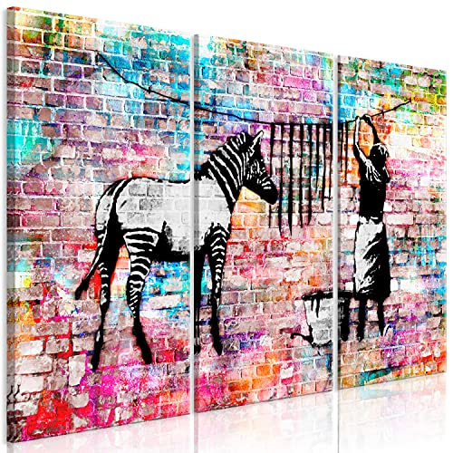 murando Akustikbild Banksy Washing Zebra 135x90 cm Bilder Hochleistungsschallabsorber Schallschutz Leinwand Akustikdämmung 3 TLG Wandbild Raumakustik Schalldämmung - Graffiti Street Art g-C-0154-b-e
