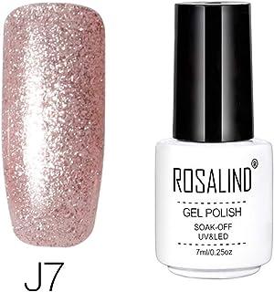 Rosalind - Esmalte de uñas de gel de 7 ml color platino y esmalte híbrido semipermanente colorido gel lacado (J07)