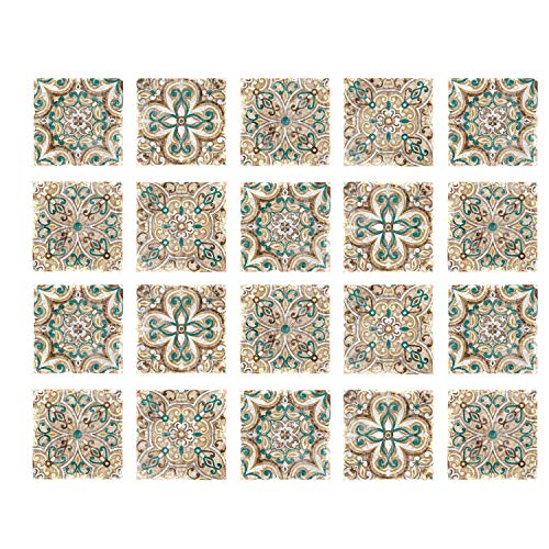 Poromoro Spanish Portuguese Azulejo Style Peel and Stick Tile Stickers Set of 20/30/40 pcs (5.9x5.9, R)