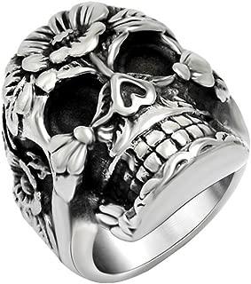 FANSING Mens Punk Biker Rings, Sugar Skull Ring Skeleton, Stainless Steel, Casting Black, Size 7-12