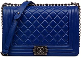 Shoulder Bag Leather Handbag Stylish Bag Women Shoulder Bag Lattice Leisure Chain Oblique Crossbody Package Handbag Clutch (Color : Blue, Size : S)