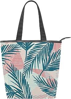Mnsruu Große Handtasche aus Segeltuch Strandtasche, Reisetasche, Einkaufstasche, Vintage Palmenblätter auf rosa Streifen Sommerurlaub Handtasche für Damen Mädchen