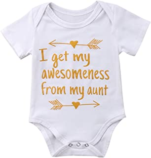3289290dd0af I Get My Awesomeness from My Aunt Newborn Infant Baby Girl White Letter  Romper Arrow Pattern
