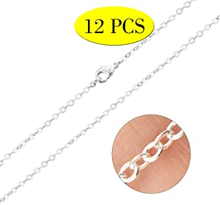 Wholesale 12 PCS Silver Plated Solid Brass Flat Cable Chains Bulk for Jewelry Making 18-30 inches (20 Inch(2MM))